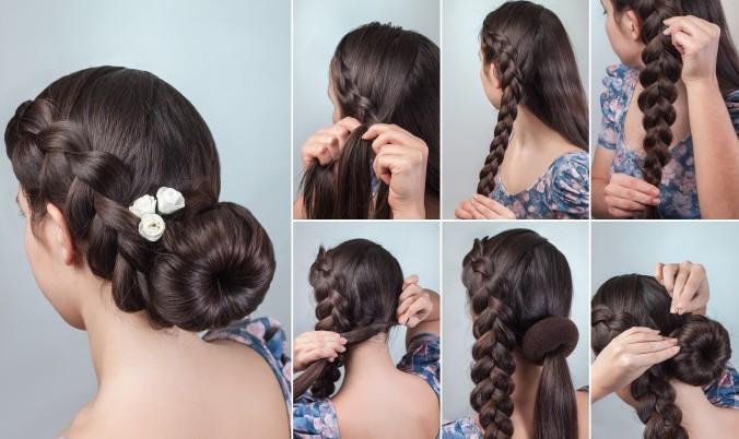 Eine beliebte Methode um die langen Haare dauerhaft befestigen und hochstecken zu können ist die Verwendung eines sogenannten Chignon. Das ist ein Kreisrundes Haarkissen mit Loch in der Mitte in dem die Haarnadeln besonders gut für viele verschiedenen Hochzeitsfrisuren befestigt werden können. (#3)