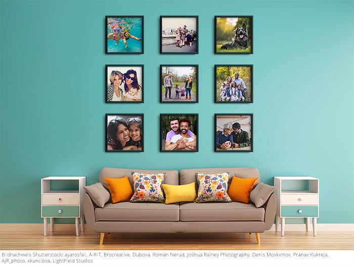 Eine Fotowand ist nicht nur für das Paar selbst eine wunderbare Möglichkeit, sich immer an besondere Situationen des gemeinsamen Lebens zu erinnern.