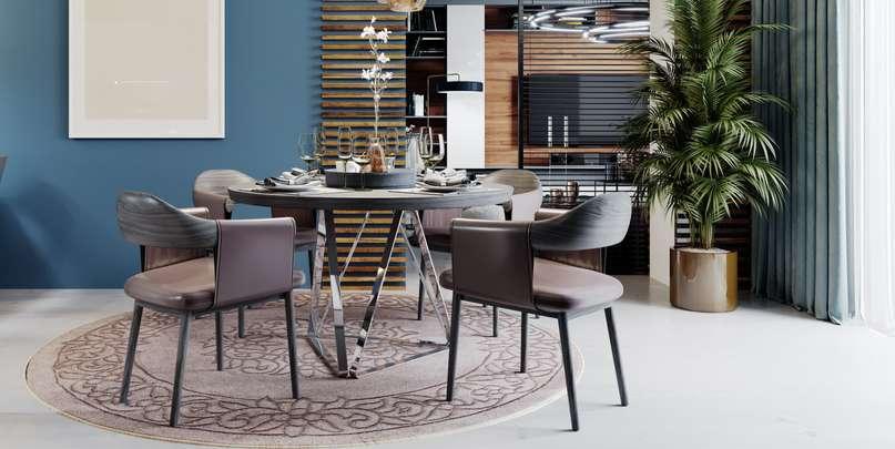Runde und ovale Tische haben den Vorteil, dass sich hier immer mehrere Leute gegenübersitzen, es gibt keine Stirnseite, die dem Hausherrn oder Gastgeber vorbehalten ist.  ( Foto: Shutterstock-_KUPRYNENKO ANDRII )
